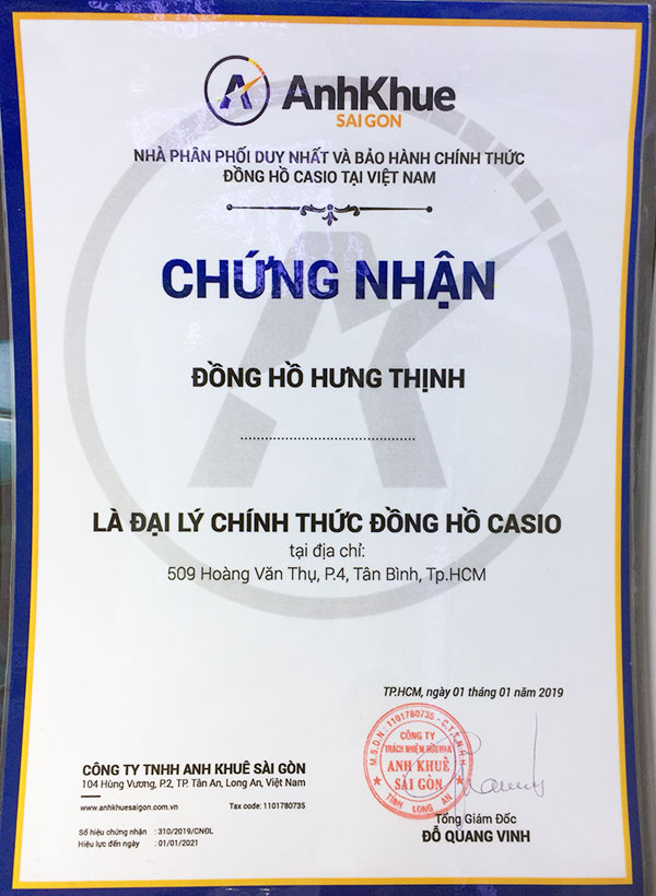 Giấy chứng nhận đại lý bán CASIO chính hãng tại Showroom Tân Bình
