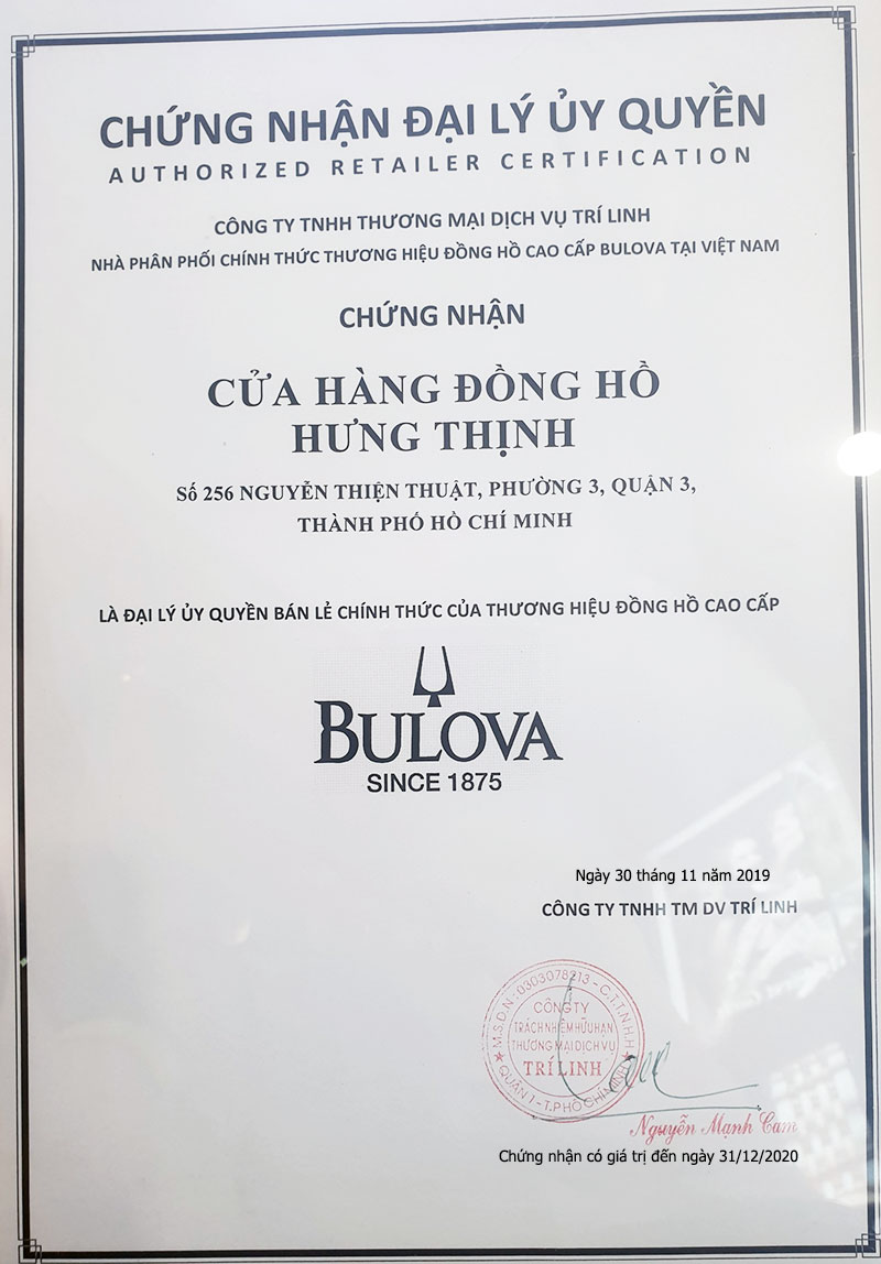 Giấy chứng nhận đại lý BULOVA chính hãng