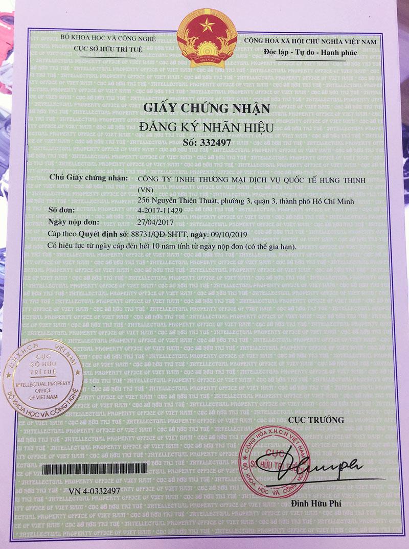 Giấy chứng nhận đăng ký nhãn hiệu Đồng hồ Hưng Thịnh